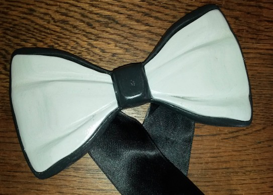 3D Printed Bow Tie presented as a gift to Alan Davies, created from 100% recycled ABS (Black plastic from the automotive industry) and 100% recycled HIPS (white plastic from the home electronics industry)