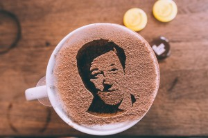 UK Coffee Week - Robox 3D printed stencil Stephen Fry