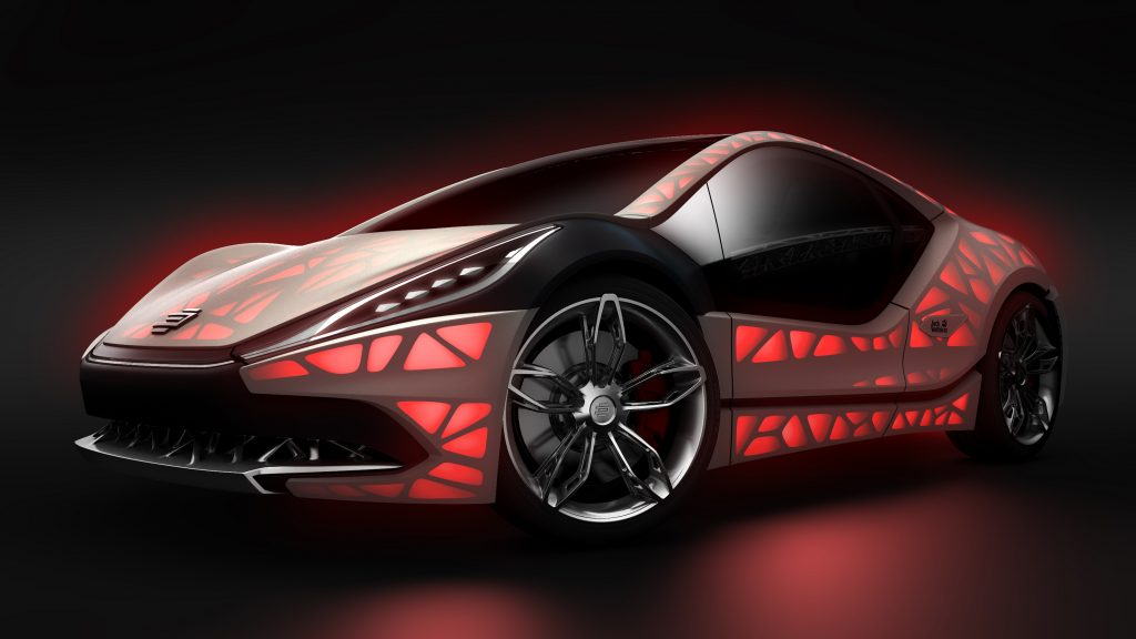 "The ""EDAG Light Cocoon"" concept car, which was unveiled by EDAG at the Geneva Motor Show in March 2015 and at the International Motor Show (IAA) in September 2015 in Frankfurt, is a visionary embodiment of a compact sports car with a completely bionically optimized and additively manufactured vehicle structure that is combined with an outer skin made from weatherproof textile material and a variable light design."
