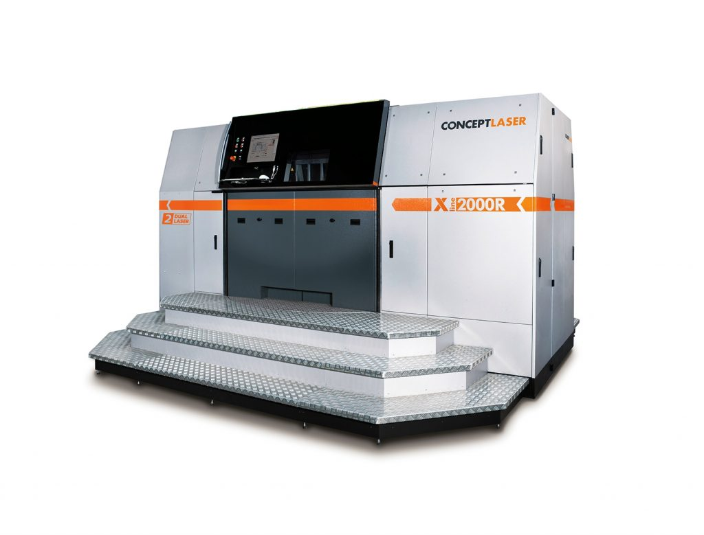 The successor model to the X line 1000R, the X line 2000R from Concept Laser (build envelope: 800 x 400 x 500 mm3), equipped with 2 x 1,000 W lasers.