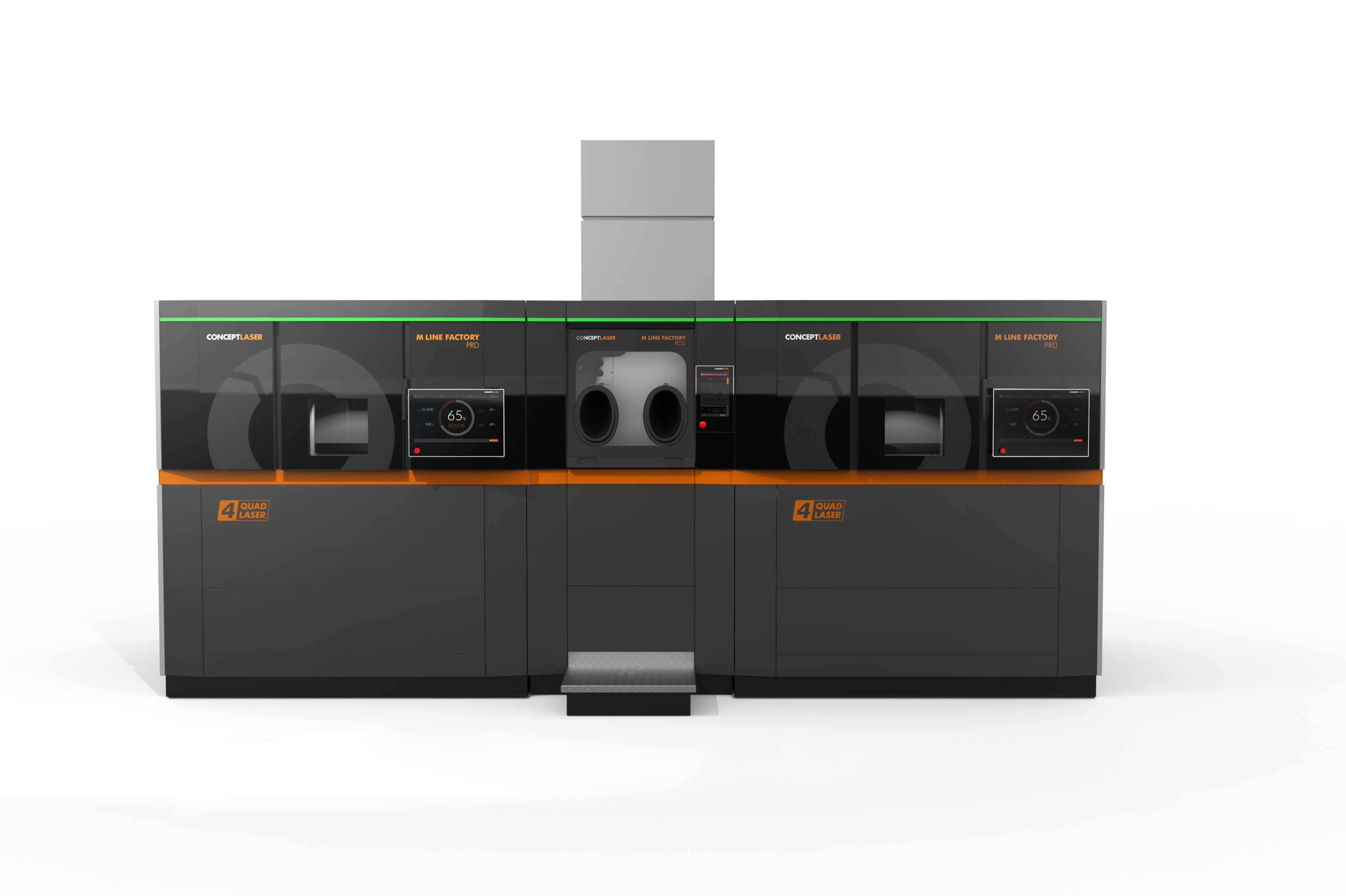 The production unit and processing unit can be combined in any way you want. Here is an example of a processing unit with two production units. Image: Concept Laser