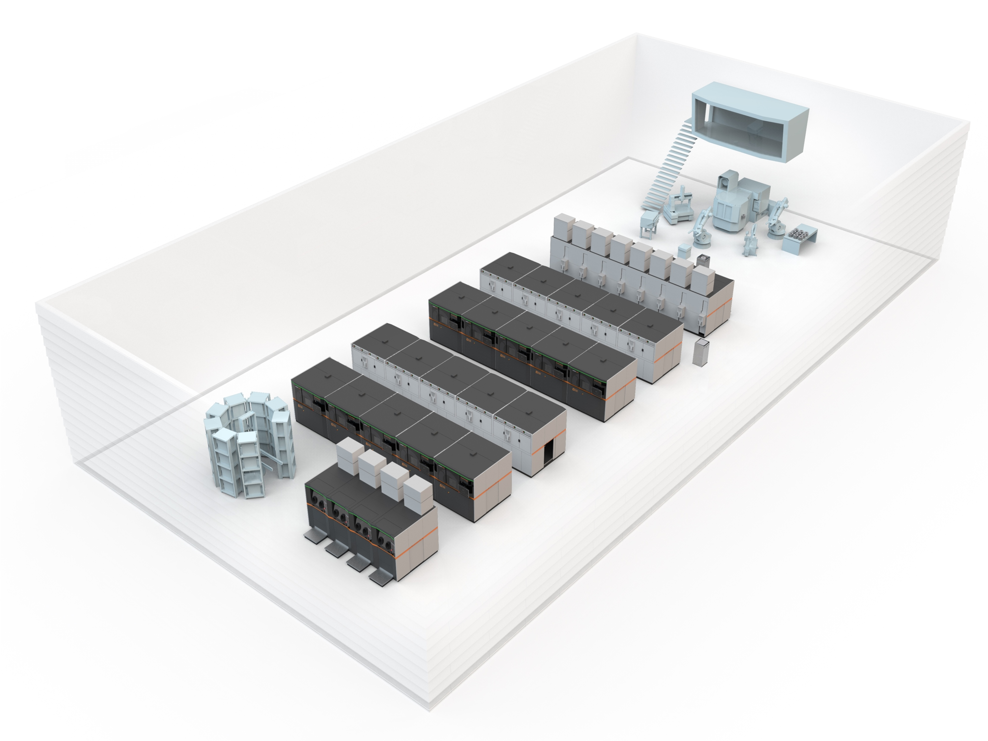 """The concept of the """"AM Factory of Tomorrow"""": The """"smart factory"""" is a flexibly expandable, high-grade automated and centrally controllable meta production system which is focused fully on the production assignments in hand and thus enables the economical series production of additive metal components. Image: Concept Laser"""