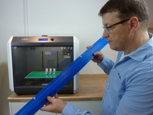 Figure 3: Inspection of a segmented and welded together 3D printed part for the automotive industry