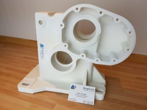 Figure 5: Gear case model printed on the X30Pro in segments and welded together