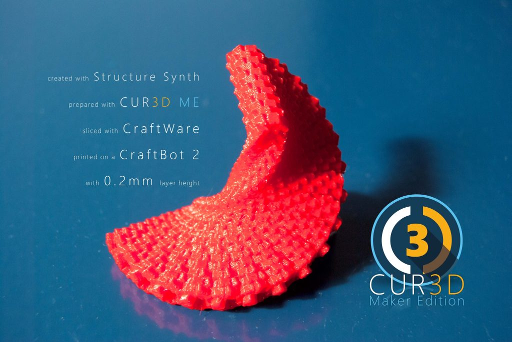 A generative Structure Synth design made 3d printable by CUR3D Maker Edition.