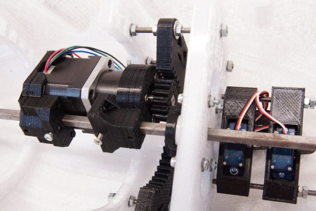 Figure 3: Motor and transmission of the prototype, including electronics