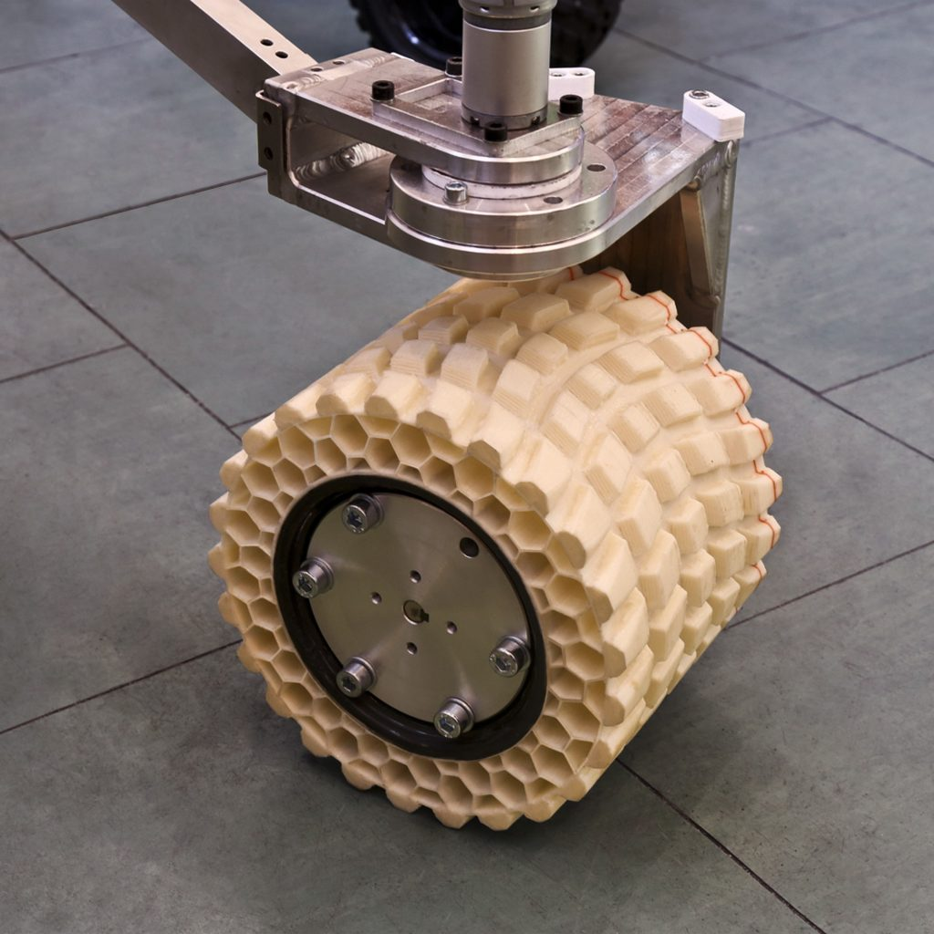 Mars rover wheel with 3D printed tyre