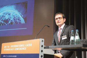 Dr. Klaus Löffler, TRUMPF Laser- und Systemtechnik GmbH in Ditzingen, Germany talking about worldwide laser markets at Technology Business Day at AKL'16. © Fraunhofer ILT, Aachen, Germany.