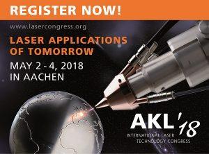 Register now! The AKL'18 logo. © Fraunhofer ILT, Aachen, Germany.
