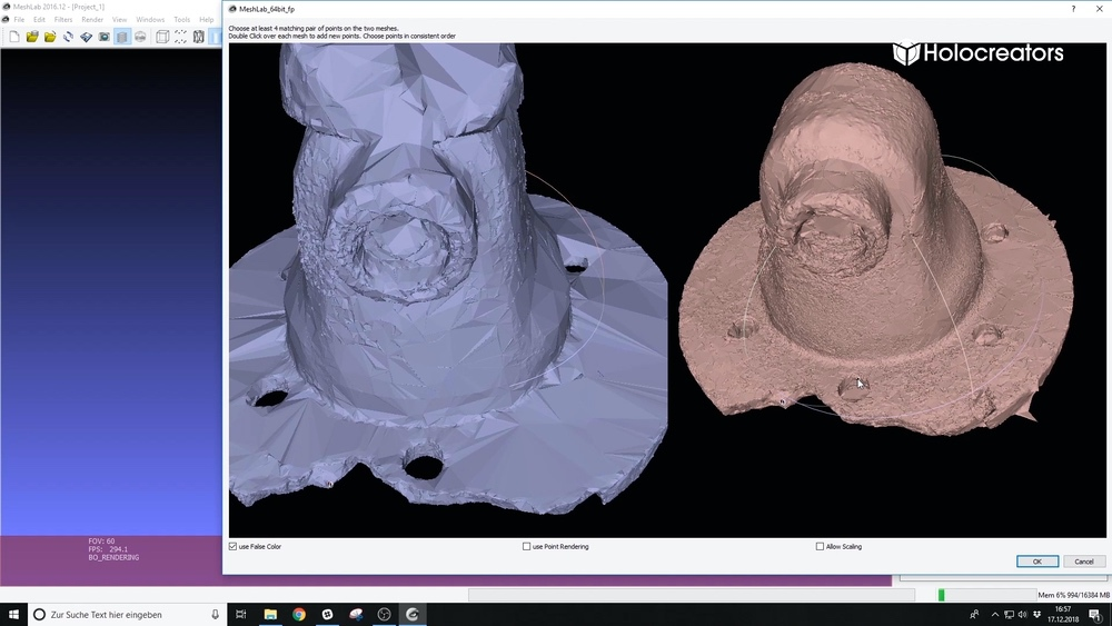 Select the matching geometry in both 3D scans