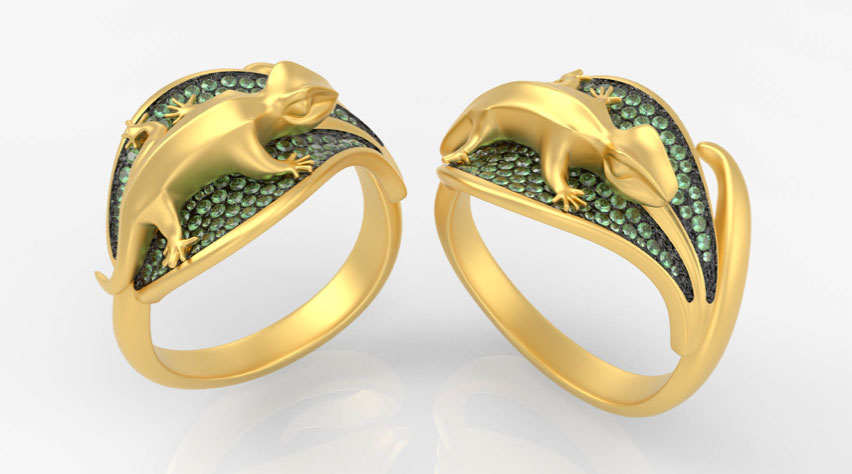 """The """"Geko Ring Collection,"""" jewelry by Luca Palmini, designed and rendered with Inspire Studio. Image courtesy of Luca Palmini."""